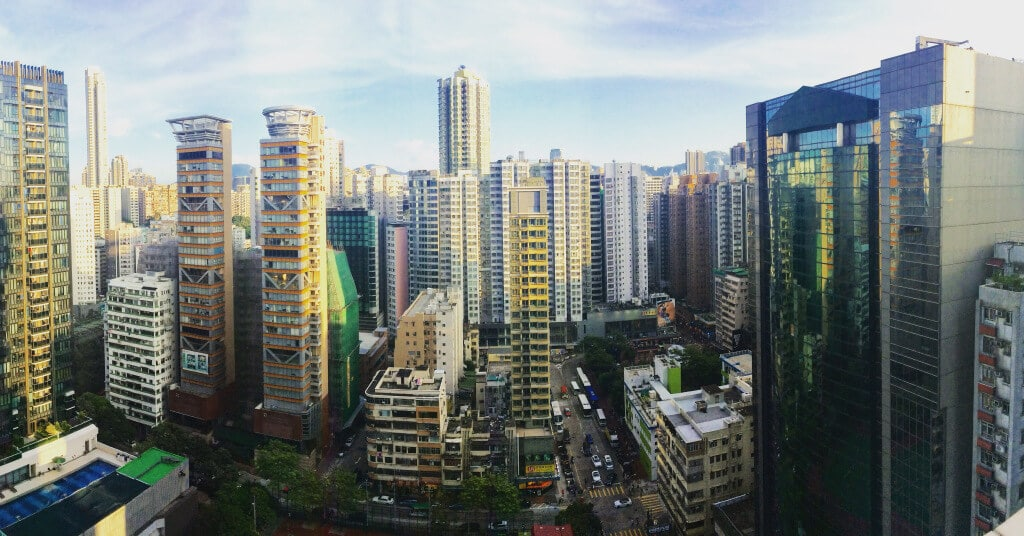 The view from TEFL teacher Adrian's apartment in Kowloon, Hong Kong