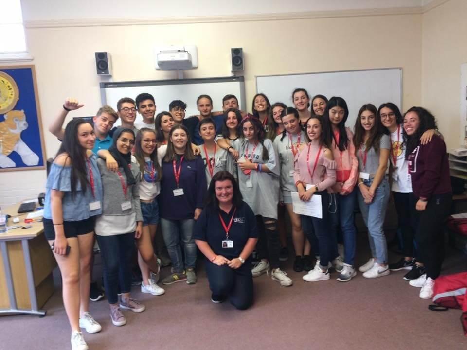 EFL teacher Emily with students