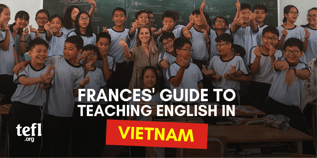 EFL Teacher Frances with her students in a Vietnamese Classroom