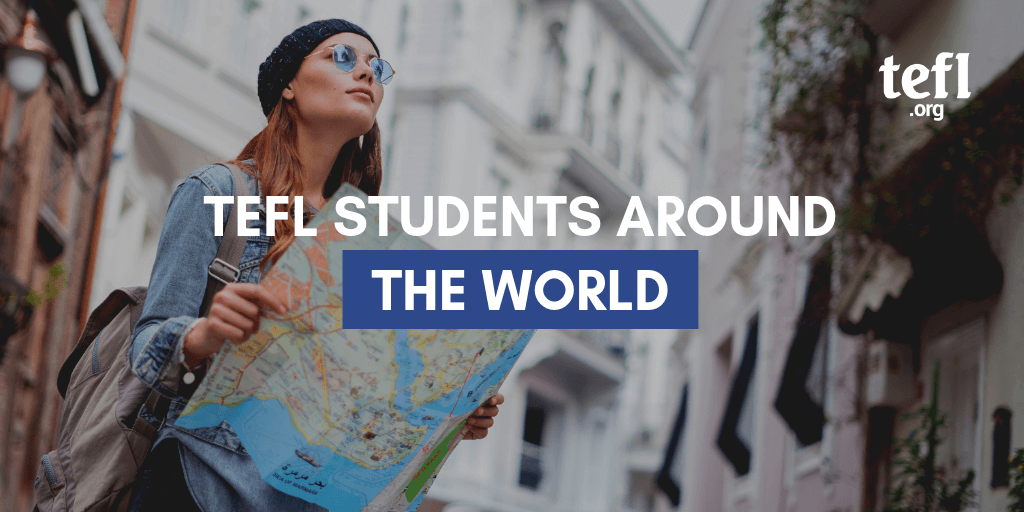 """Image of a woman with a map with the text """"TEFL Students Around the world"""" overlayed"""