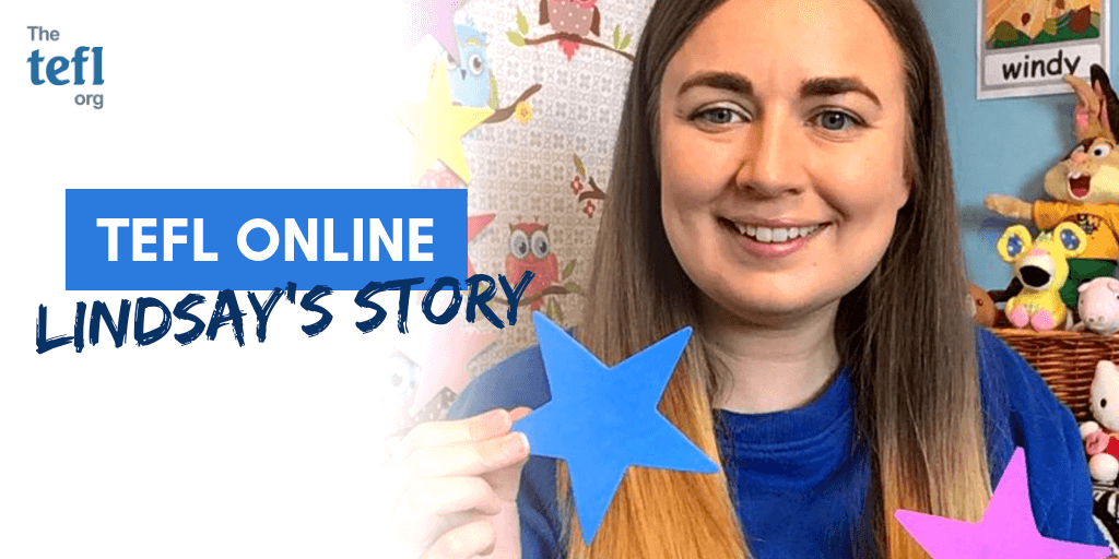 Online English teacher Lindsay holding up stars for a TEFL lesson