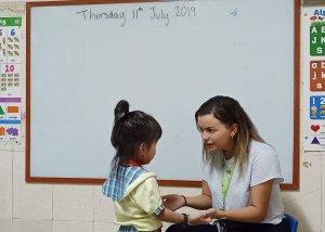 EFL teacher Kat with a student