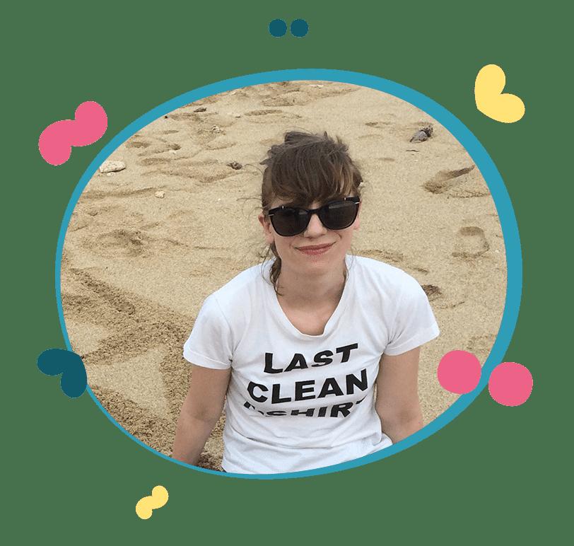 English teacher Helen on a beach