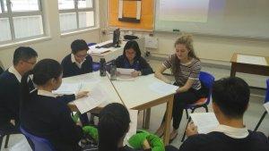 EFL teacher Madeleine leading a class