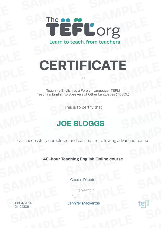 The TEFL Org Sample Certificate