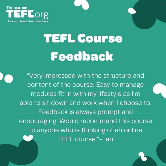Ian shares his experience of taking a TEFL course. ⁠ ⁠ Would you like to get TEFL qualified in your own time and at your own pace with one of our online courses? 👀⁠ ⁠ Throughout the course, you will have the support of your own personal tutor who's with you from beginning to end to mark your work, provide helpful feedback, and answer all your questions. 👩‍🏫⁠ ⁠ Get your internationally recognised qualification from The TEFL Org and start an exciting adventure today. Where will TEFL take you? ✈️⁠ ⁠ Find out more about our online courses by following the link in our bio 🔗