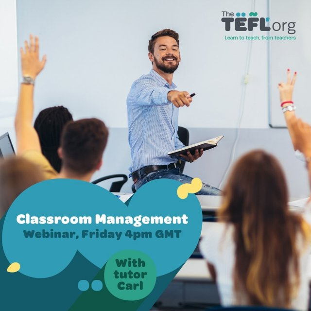 Join us this Friday, 12th February at 4pm UK time when TEFL Org tutor Carl will be discussing the best classroom management techniques and methods to maximise learning.⁠ ⁠ Don't forget to click '🔔 Set Reminder' to be notified when we go live - Link in bio 🔗⁠ ⁠ If you have any questions you'd like Carl to answer, drop them in the comments section and we'll make sure to answer them during the livestream 👇
